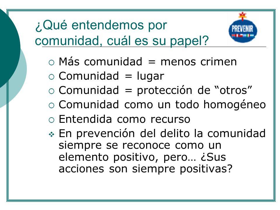 Más comunidad = menos crimen Comunidad = lugar Comunidad = protección de otros Comunidad como un todo homogéneo Entendida como recurso En prevención d