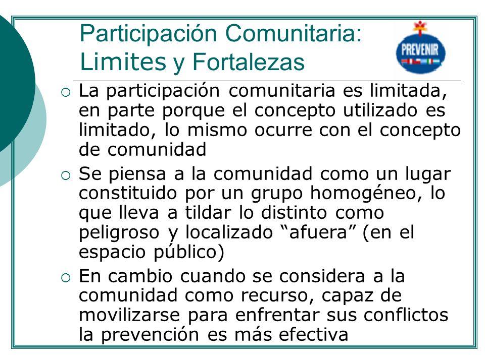 Participación Comunitaria: Limites y Fortalezas La participación comunitaria es limitada, en parte porque el concepto utilizado es limitado, lo mismo