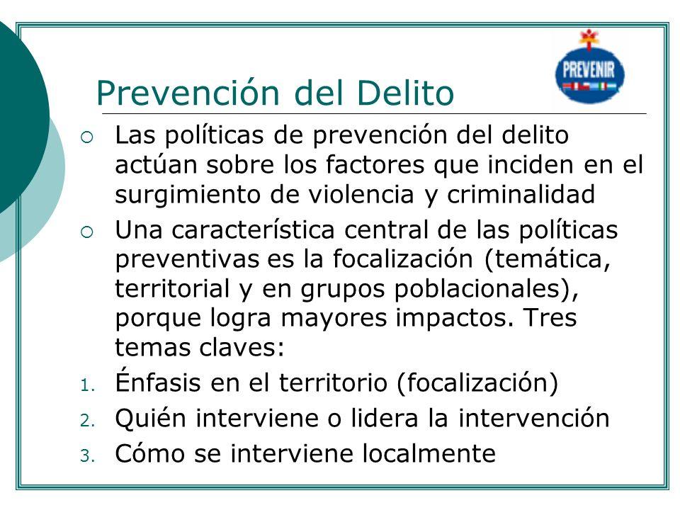 Prevención del Delito Las políticas de prevención del delito actúan sobre los factores que inciden en el surgimiento de violencia y criminalidad Una c