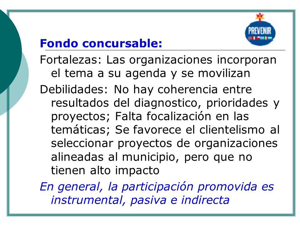 Fondo concursable: Fortalezas: Las organizaciones incorporan el tema a su agenda y se movilizan Debilidades: No hay coherencia entre resultados del di