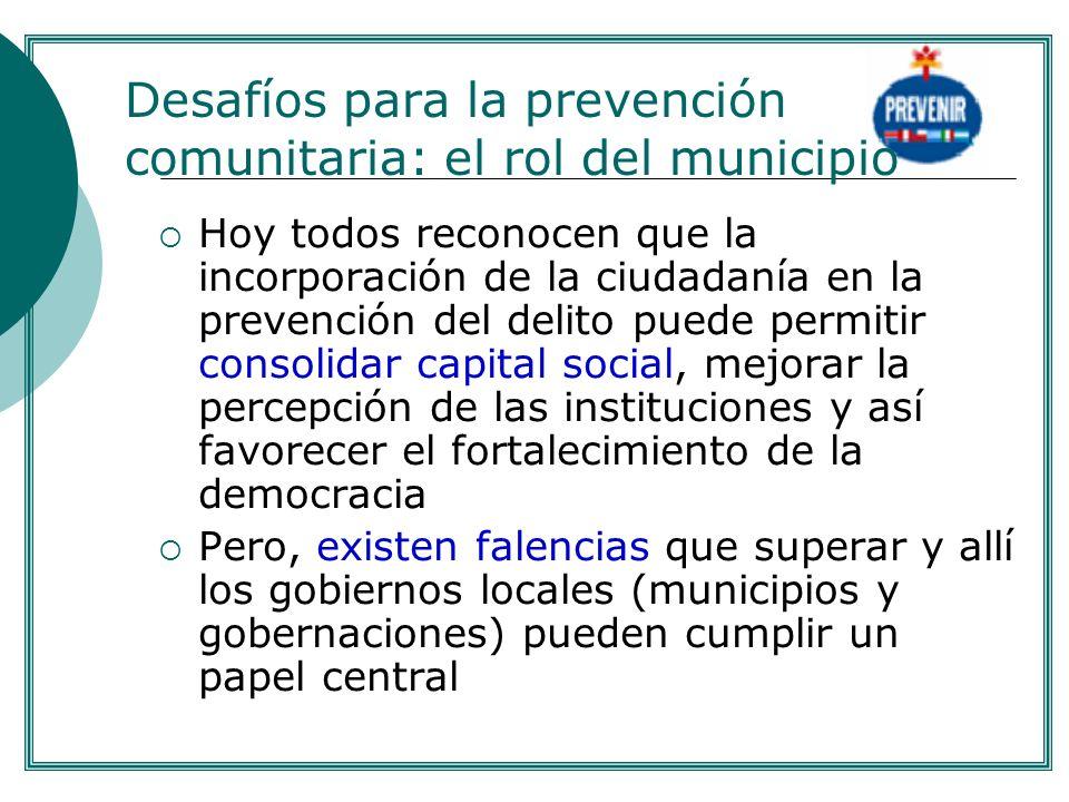 Hoy todos reconocen que la incorporación de la ciudadanía en la prevención del delito puede permitir consolidar capital social, mejorar la percepción