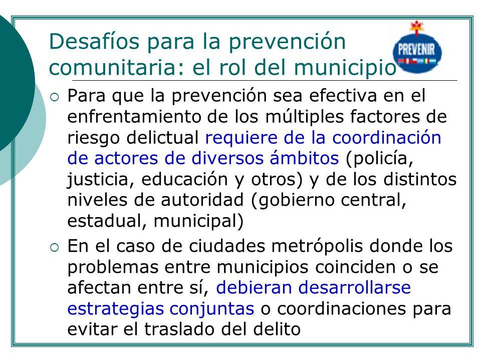 Para que la prevención sea efectiva en el enfrentamiento de los múltiples factores de riesgo delictual requiere de la coordinación de actores de diver