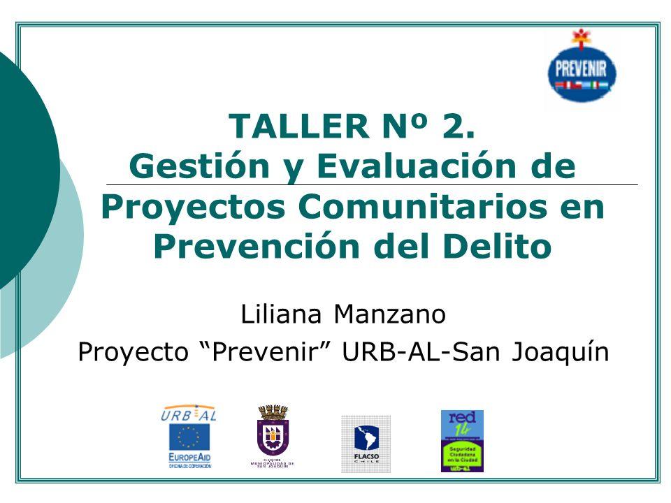 TALLER Nº 2. Gestión y Evaluación de Proyectos Comunitarios en Prevención del Delito Liliana Manzano Proyecto Prevenir URB-AL-San Joaquín....
