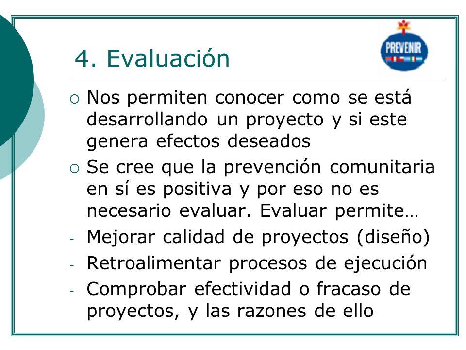 4. Evaluación Nos permiten conocer como se está desarrollando un proyecto y si este genera efectos deseados Se cree que la prevención comunitaria en s