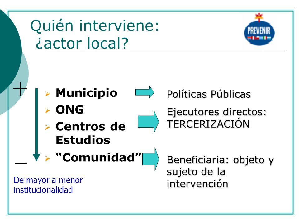 Quién interviene: ¿actor local? Municipio ONG Centros de Estudios Comunidad De mayor a menor institucionalidad Políticas Públicas Ejecutores directos: