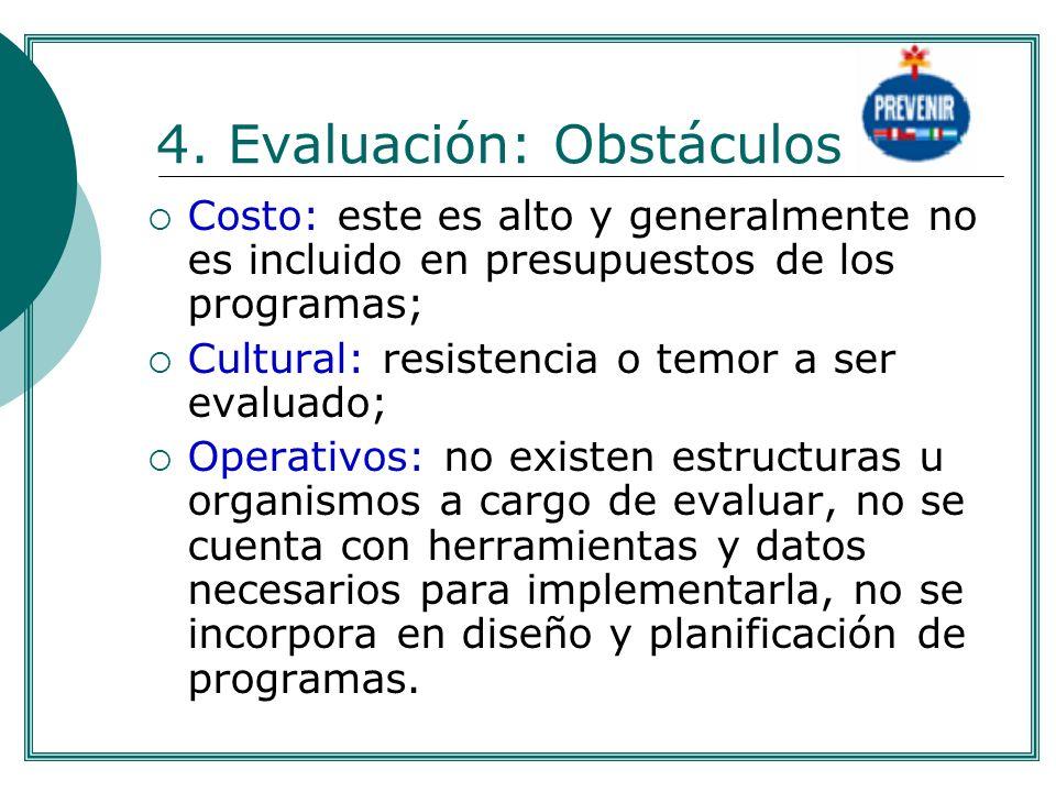 4. Evaluación: Obstáculos Costo: este es alto y generalmente no es incluido en presupuestos de los programas; Cultural: resistencia o temor a ser eval
