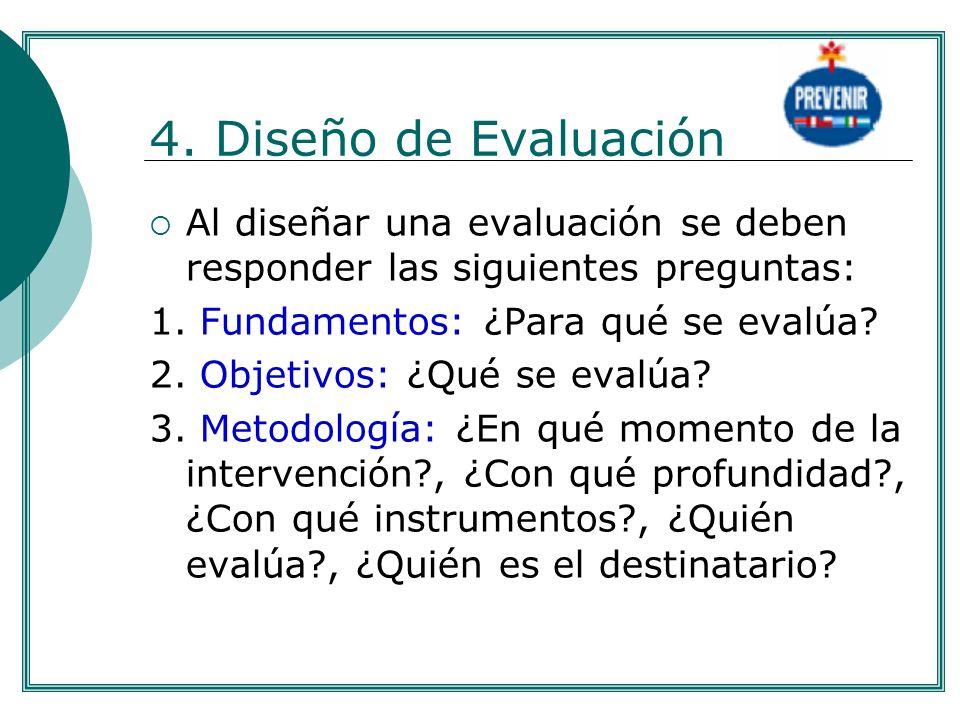 4. Diseño de Evaluación Al diseñar una evaluación se deben responder las siguientes preguntas: 1. Fundamentos: ¿Para qué se evalúa? 2. Objetivos: ¿Qué