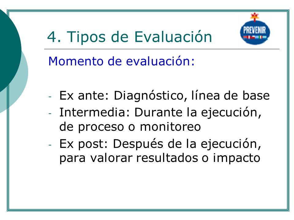 4. Tipos de Evaluación Momento de evaluación: - Ex ante: Diagnóstico, línea de base - Intermedia: Durante la ejecución, de proceso o monitoreo - Ex po