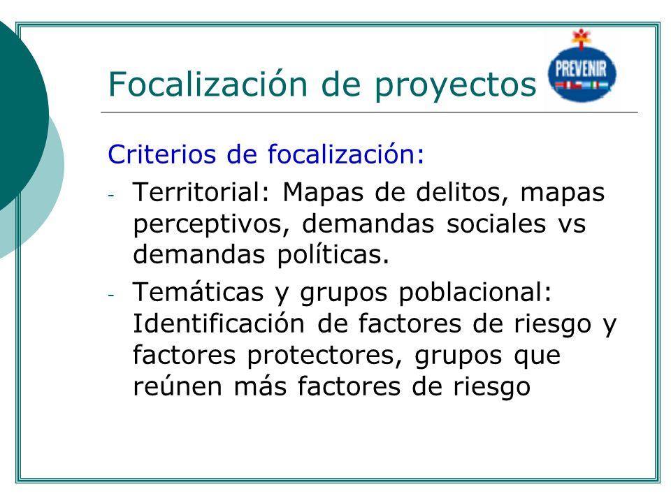 Focalización de proyectos Criterios de focalización: - Territorial: Mapas de delitos, mapas perceptivos, demandas sociales vs demandas políticas. - Te