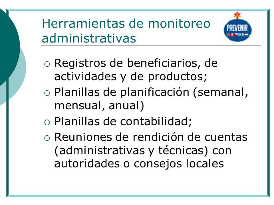 Herramientas de monitoreo administrativas Registros de beneficiarios, de actividades y de productos; Planillas de planificación (semanal, mensual, anu