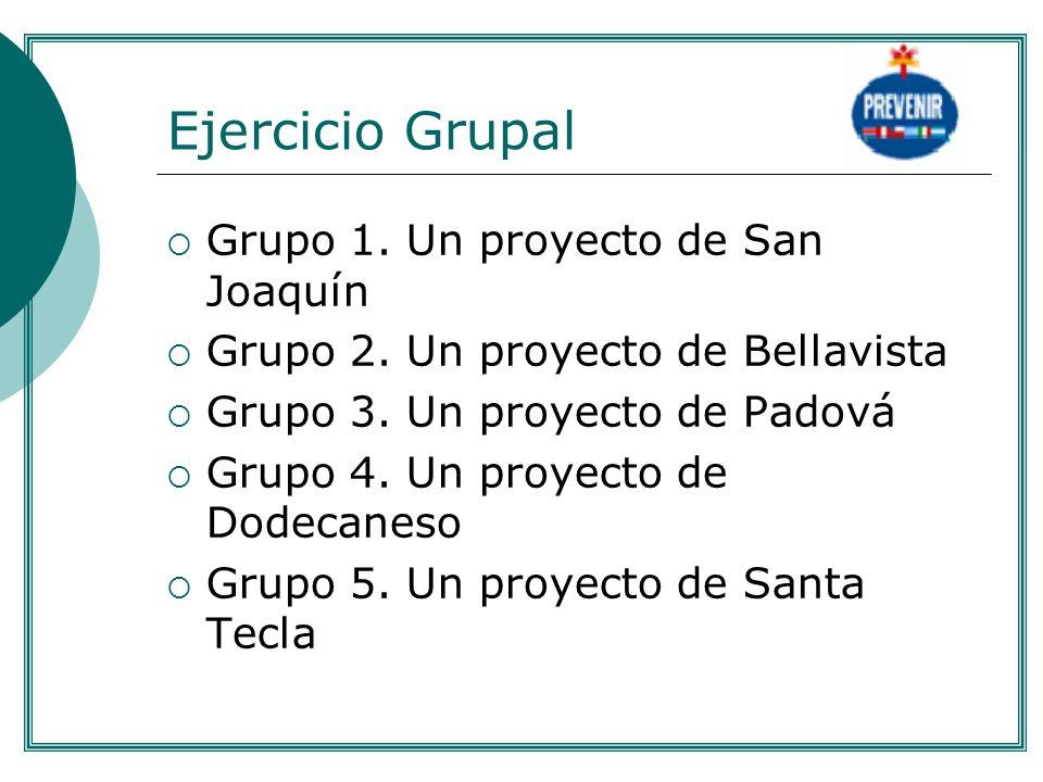 Ejercicio Grupal Grupo 1. Un proyecto de San Joaquín Grupo 2. Un proyecto de Bellavista Grupo 3. Un proyecto de Padová Grupo 4. Un proyecto de Dodecan