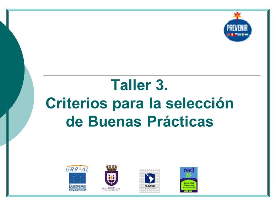 Taller 3. Criterios para la selección de Buenas Prácticas....
