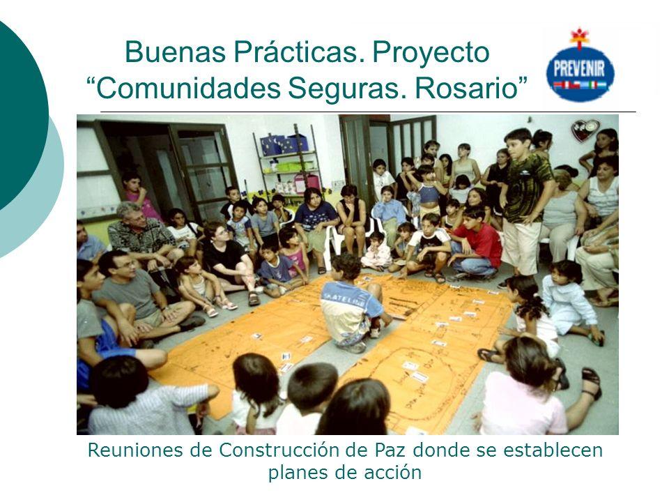 Buenas Prácticas. Proyecto Comunidades Seguras. Rosario Reuniones de Construcción de Paz donde se establecen planes de acción