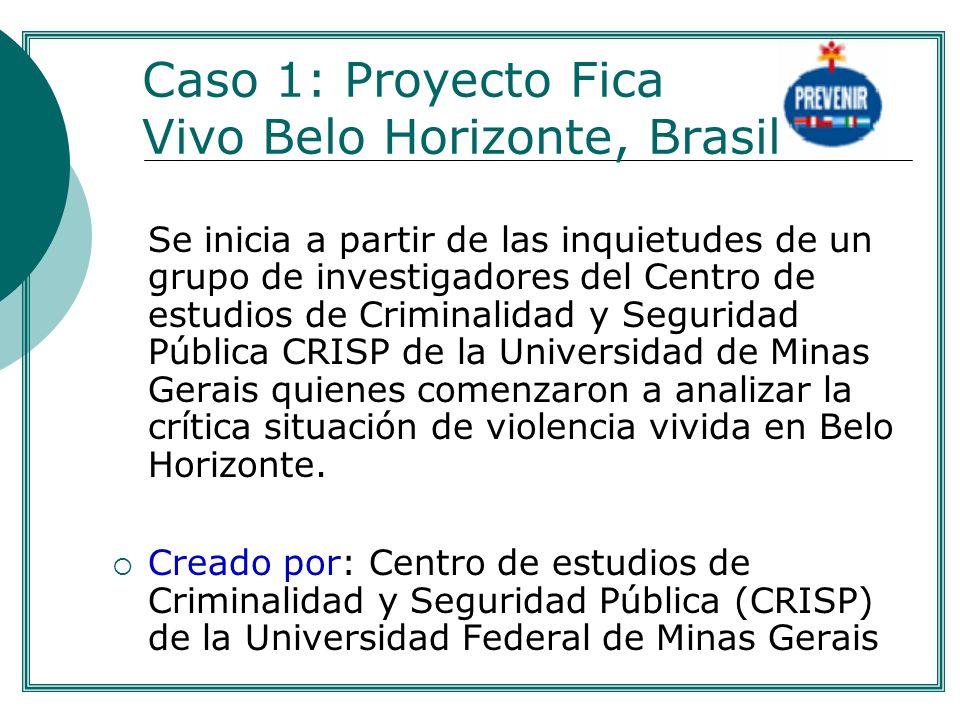 Caso 1: Proyecto Fica Vivo Belo Horizonte, Brasil Se inicia a partir de las inquietudes de un grupo de investigadores del Centro de estudios de Crimin