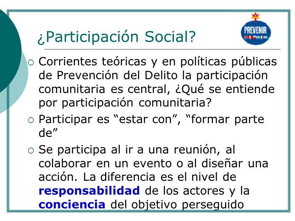 ¿ Participación Social? Corrientes teóricas y en políticas públicas de Prevención del Delito la participación comunitaria es central, ¿Qué se entiende