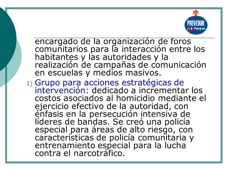 encargado de la organización de foros comunitarios para la interacción entre los habitantes y las autoridades y la realización de campañas de comunica