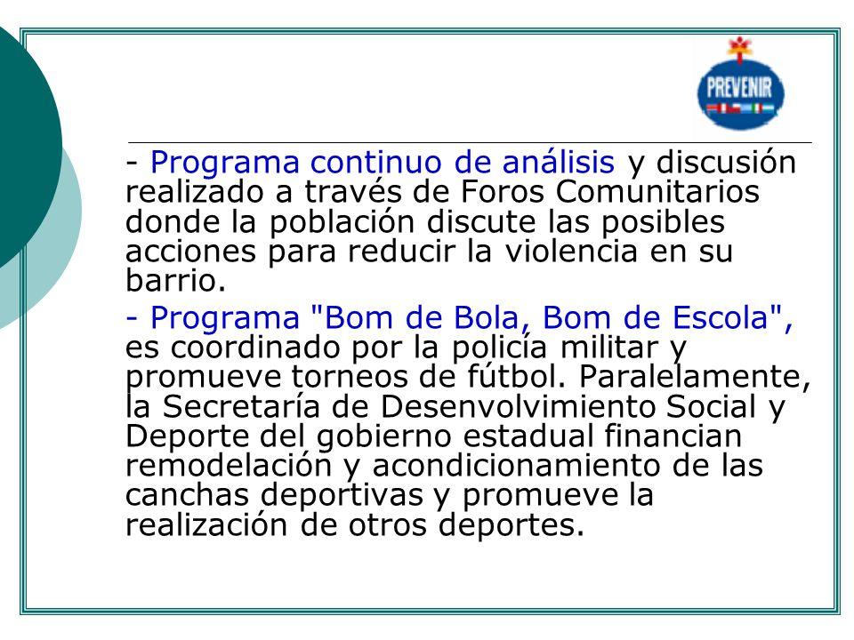 - Programa continuo de análisis y discusión realizado a través de Foros Comunitarios donde la población discute las posibles acciones para reducir la