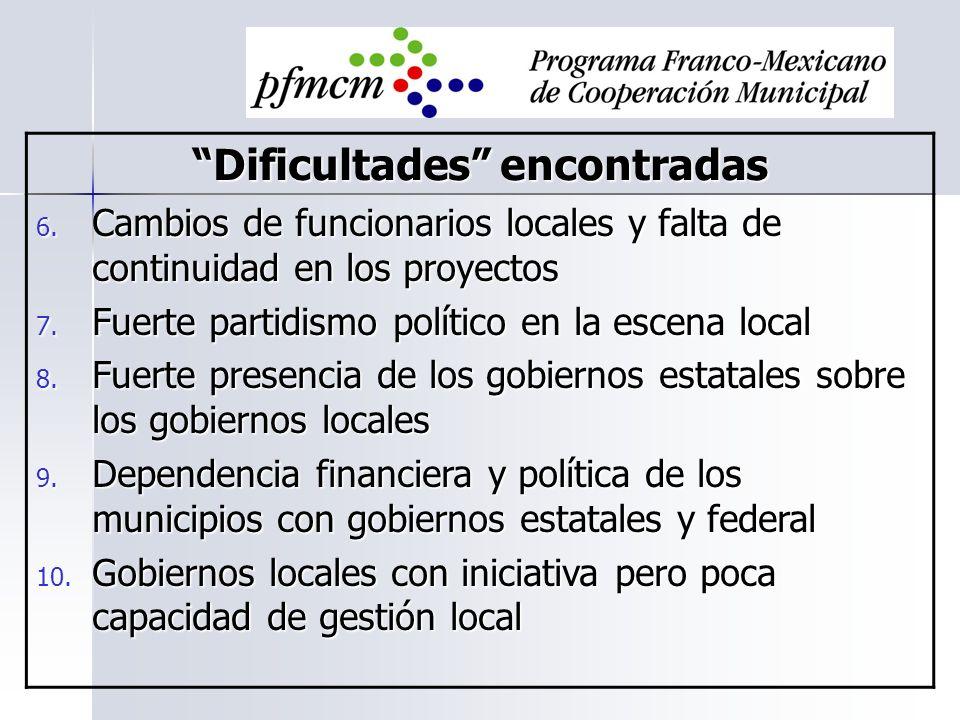 Dificultades encontradas 6. Cambios de funcionarios locales y falta de continuidad en los proyectos 7. Fuerte partidismo político en la escena local 8