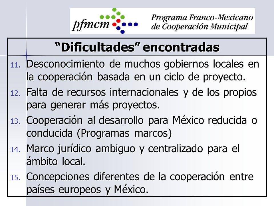 Dificultades encontradas 11. Desconocimiento de muchos gobiernos locales en la cooperación basada en un ciclo de proyecto. 12. Falta de recursos inter