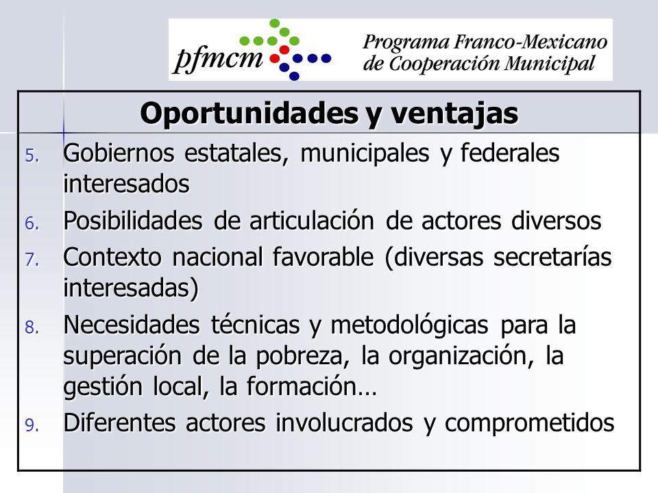 Oportunidades y ventajas 5. Gobiernos estatales, municipales y federales interesados 6. Posibilidades de articulación de actores diversos 7. Contexto