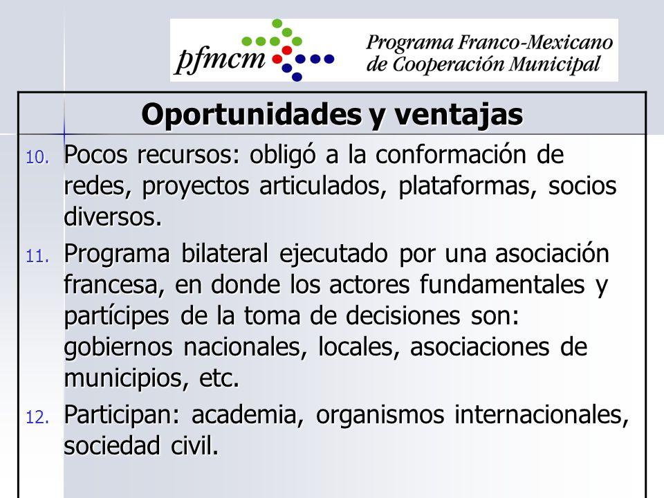 Oportunidades y ventajas 10. Pocos recursos: obligó a la conformación de redes, proyectos articulados, plataformas, socios diversos. 11. Programa bila
