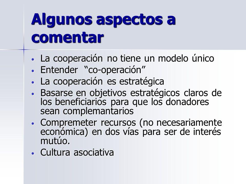 Algunos aspectos a comentar La cooperación no tiene un modelo único La cooperación no tiene un modelo único Entender co-operación Entender co-operació