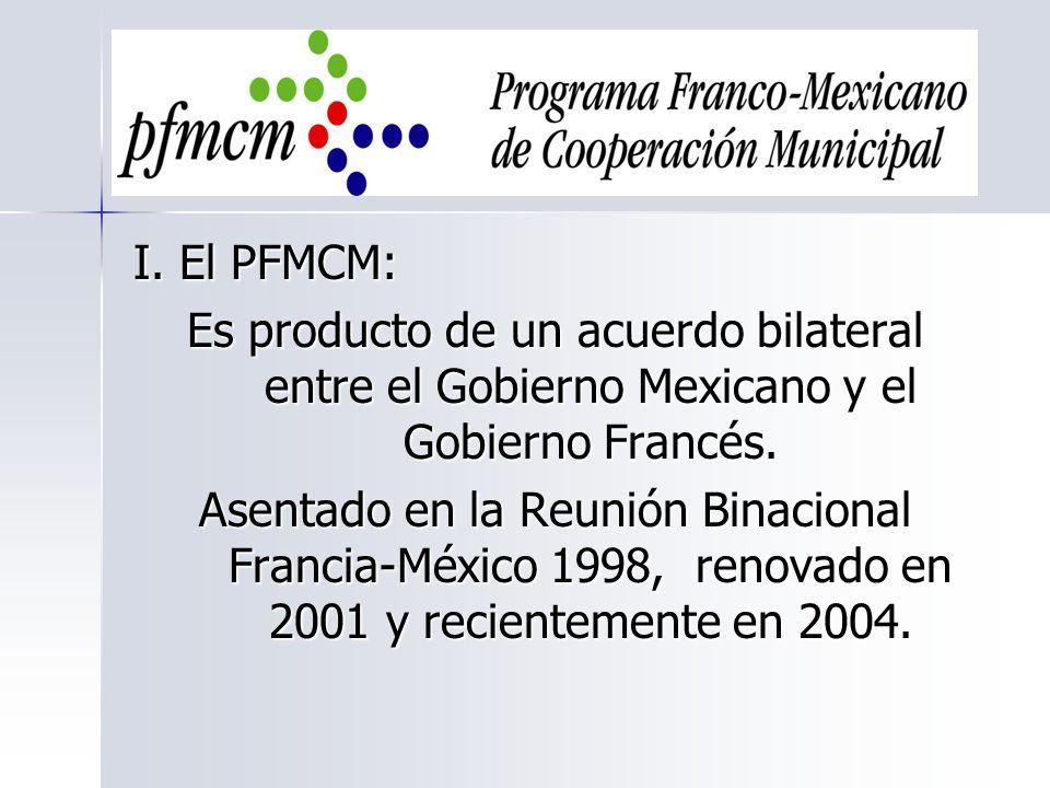 I. El PFMCM: Es producto de un acuerdo bilateral entre el Gobierno Mexicano y el Gobierno Francés. Asentado en la Reunión Binacional Francia-México 19