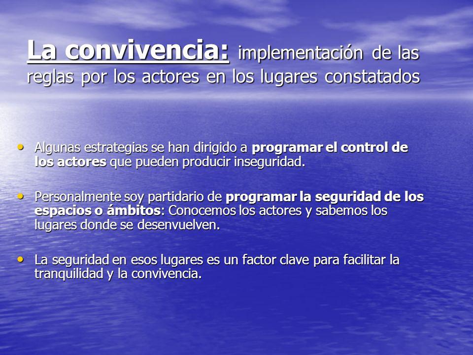 La convivencia: implementación de las reglas por los actores en los lugares constatados Algunas estrategias se han dirigido a programar el control de