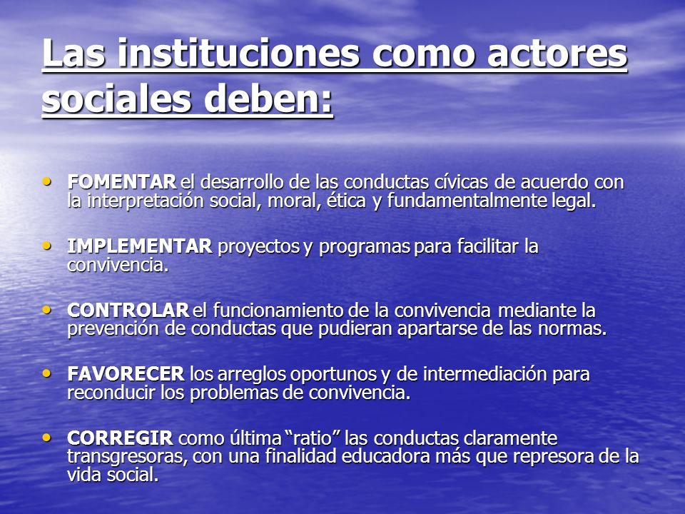 Las instituciones como actores sociales deben: FOMENTAR el desarrollo de las conductas cívicas de acuerdo con la interpretación social, moral, ética y