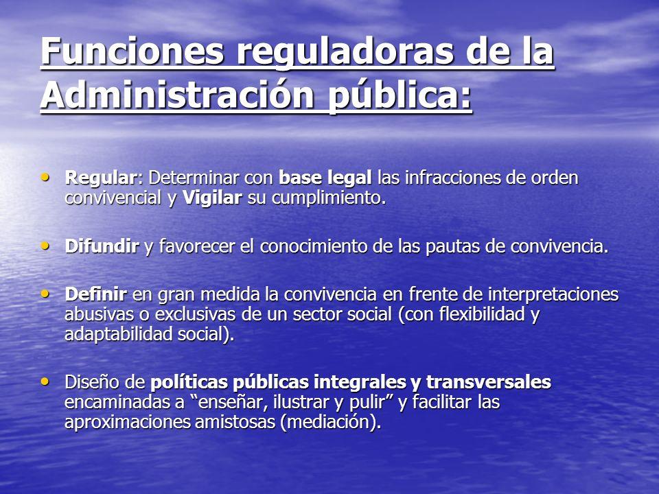 Funciones reguladoras de la Administración pública: Regular: Determinar con base legal las infracciones de orden convivencial y Vigilar su cumplimient