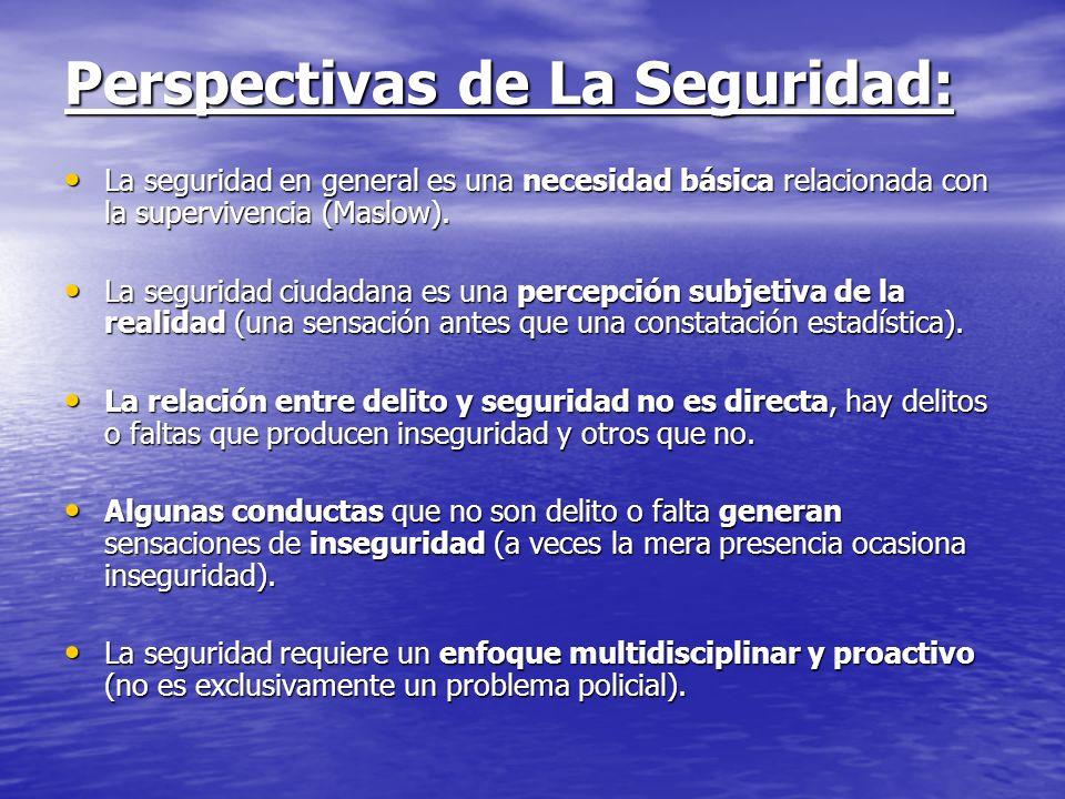 Perspectivas de La Seguridad: La seguridad en general es una necesidad básica relacionada con la supervivencia (Maslow). La seguridad en general es un