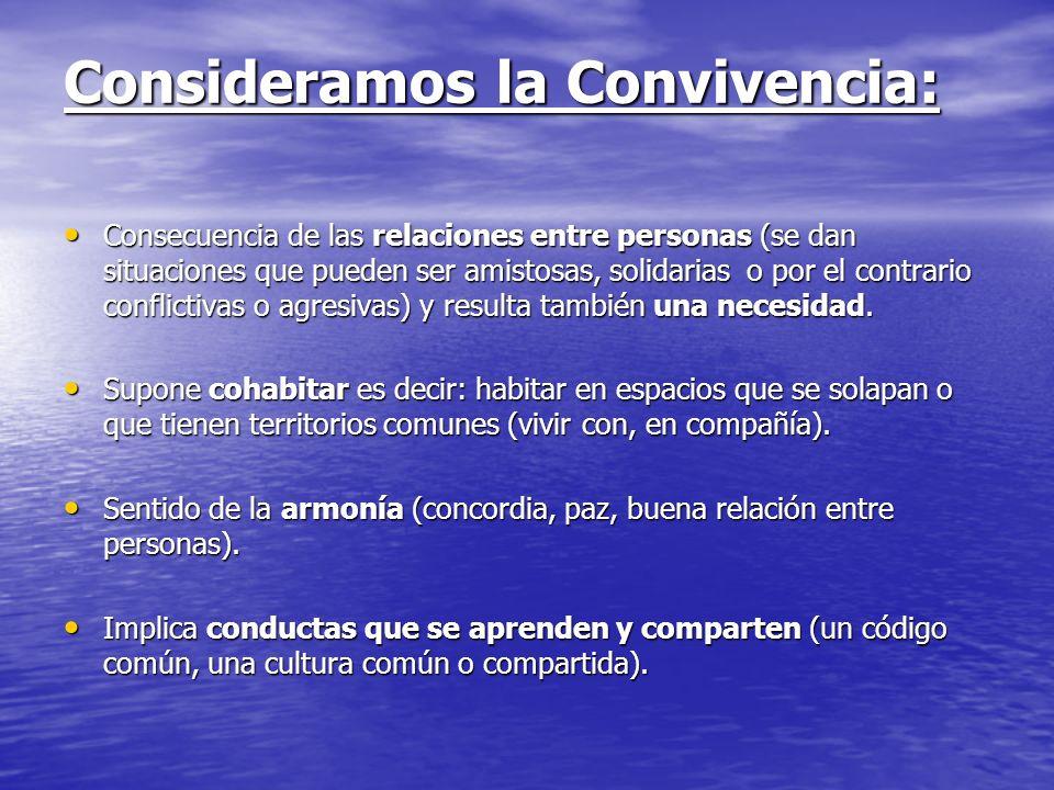 Consideramos la Convivencia: Consecuencia de las relaciones entre personas (se dan situaciones que pueden ser amistosas, solidarias o por el contrario