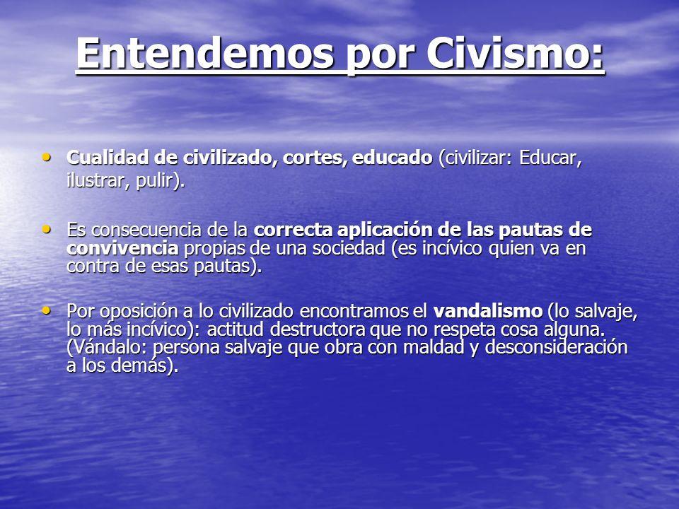 Entendemos por Civismo: Cualidad de civilizado, cortes, educado (civilizar: Educar, ilustrar, pulir). Cualidad de civilizado, cortes, educado (civiliz