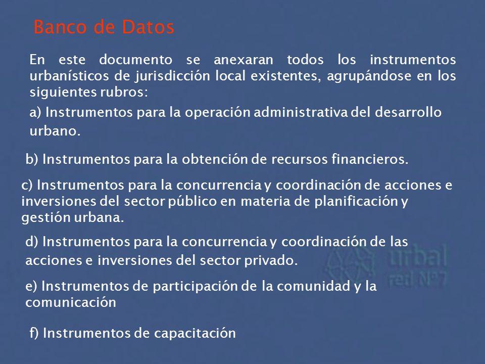 Banco de Datos En este documento se anexaran todos los instrumentos urbanísticos de jurisdicción local existentes, agrupándose en los siguientes rubro