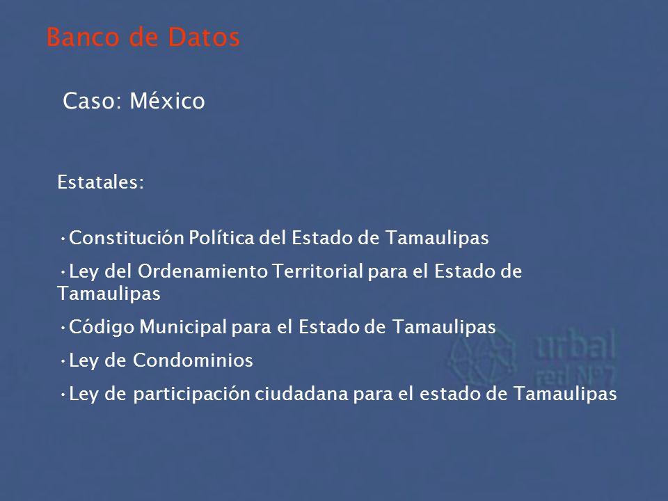 Banco de Datos Caso: México Estatales: Constitución Política del Estado de Tamaulipas Ley del Ordenamiento Territorial para el Estado de Tamaulipas Có