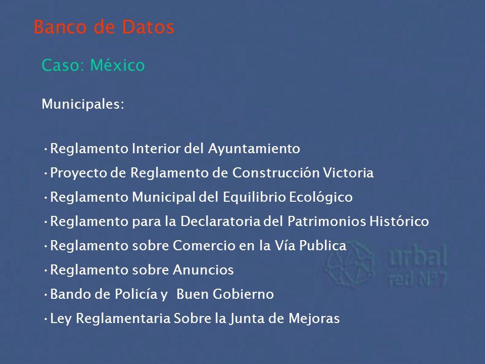 Banco de Datos Caso: México Municipales: Reglamento Interior del Ayuntamiento Proyecto de Reglamento de Construcción Victoria Reglamento Municipal del
