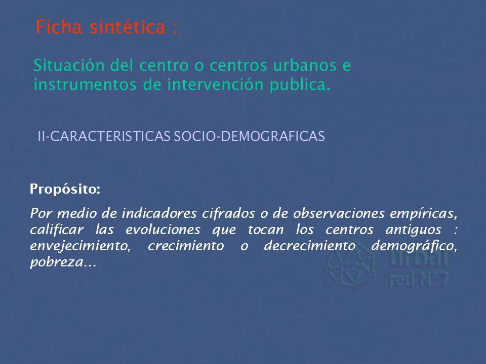 Ficha sintética : Situación del centro o centros urbanos e instrumentos de intervención publica. II-CARACTERISTICAS SOCIO-DEMOGRAFICAS Propósito: Por
