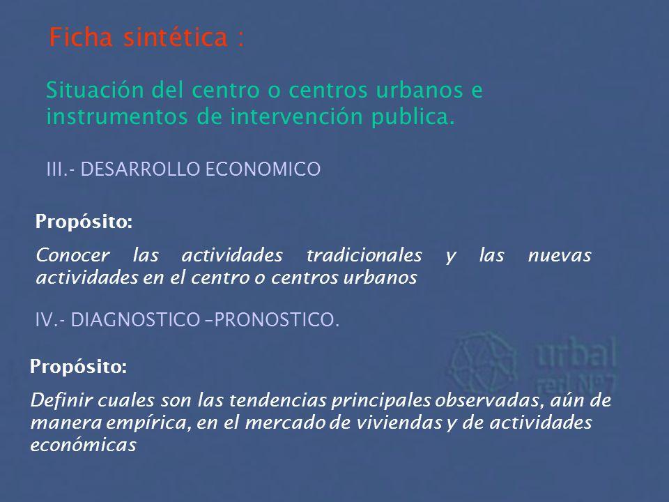 Ficha sintética : Situación del centro o centros urbanos e instrumentos de intervención publica. III.- DESARROLLO ECONOMICO Propósito: Conocer las act