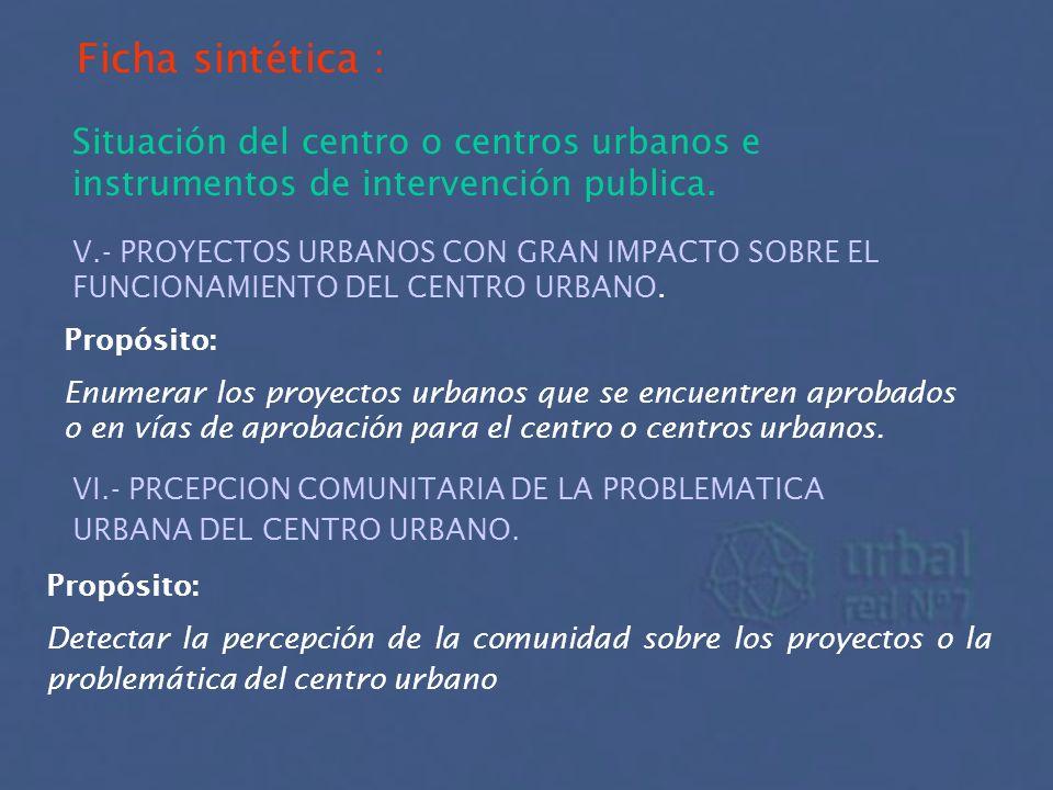 Ficha sintética : Situación del centro o centros urbanos e instrumentos de intervención publica. V.- PROYECTOS URBANOS CON GRAN IMPACTO SOBRE EL FUNCI
