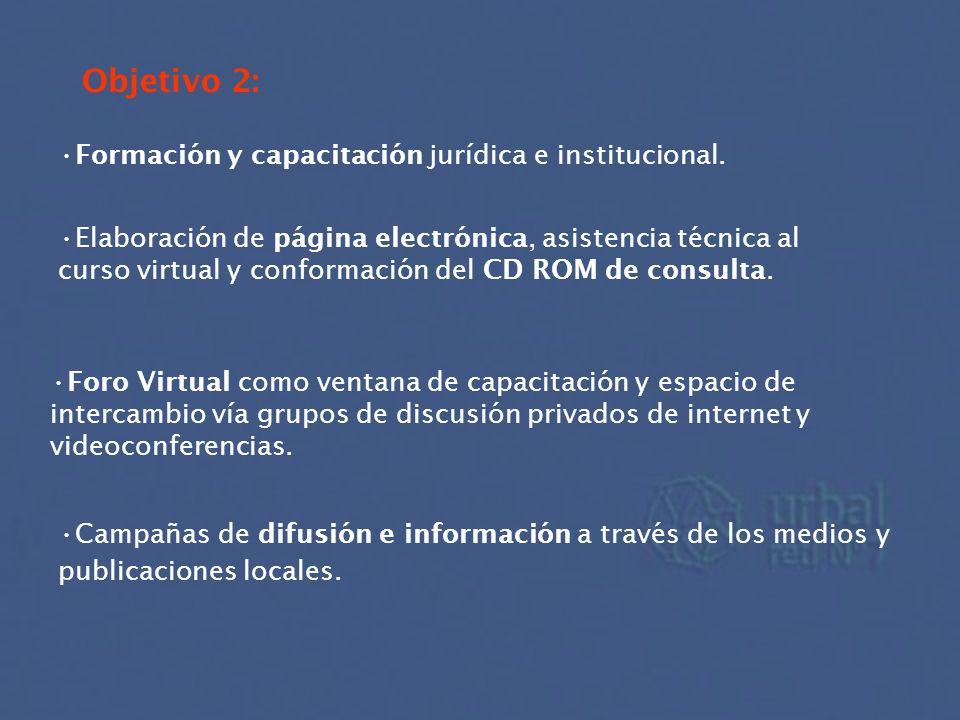Objetivo 2: Formación y capacitación jurídica e institucional. Elaboración de página electrónica, asistencia técnica al curso virtual y conformación d