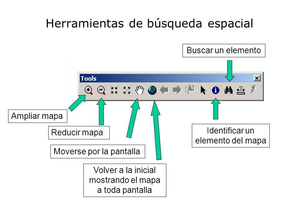 Herramientas de búsqueda espacial Ampliar mapa Reducir mapa Moverse por la pantalla Volver a la inicial mostrando el mapa a toda pantalla Identificar