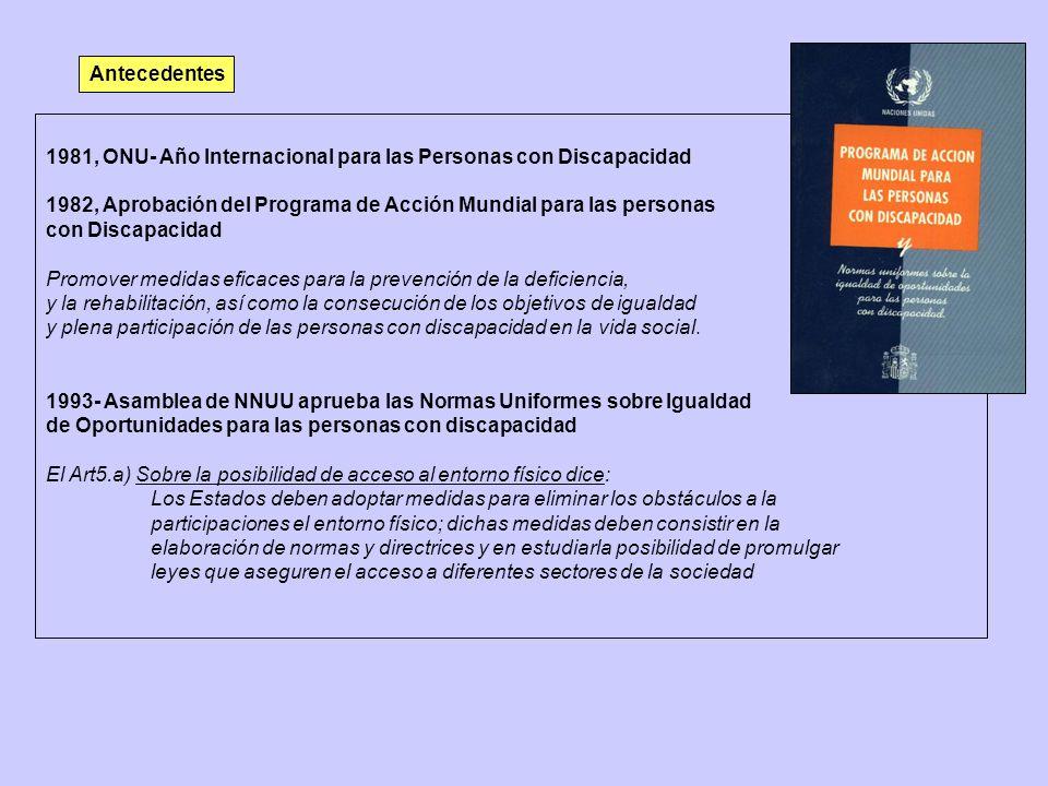 Antecedentes 1981, ONU- Año Internacional para las Personas con Discapacidad 1982, Aprobación del Programa de Acción Mundial para las personas con Dis