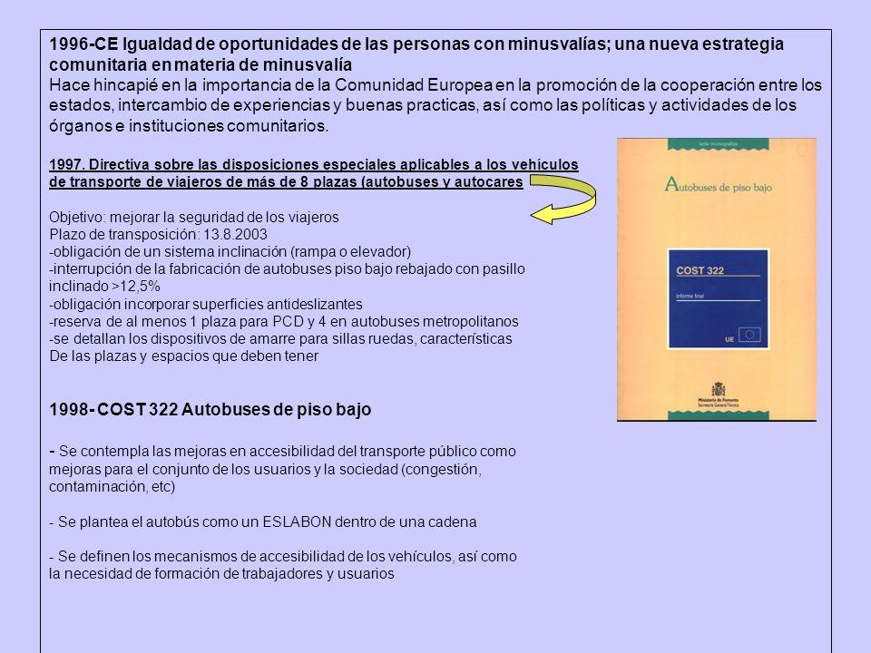 1996-CE Igualdad de oportunidades de las personas con minusvalías; una nueva estrategia comunitaria en materia de minusvalía Hace hincapié en la impor