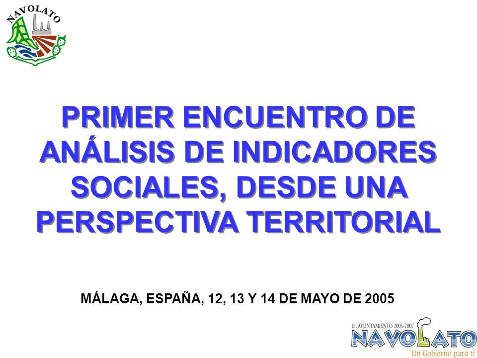PRIMER ENCUENTRO DE ANÁLISIS DE INDICADORES SOCIALES, DESDE UNA PERSPECTIVA TERRITORIAL MÁLAGA, ESPAÑA, 12, 13 Y 14 DE MAYO DE 2005