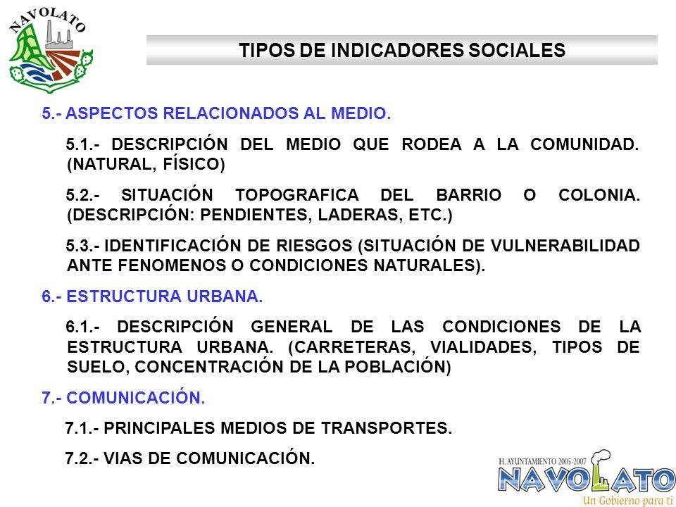 5.- ASPECTOS RELACIONADOS AL MEDIO. 5.1.- DESCRIPCIÓN DEL MEDIO QUE RODEA A LA COMUNIDAD. (NATURAL, FÍSICO) 5.2.- SITUACIÓN TOPOGRAFICA DEL BARRIO O C