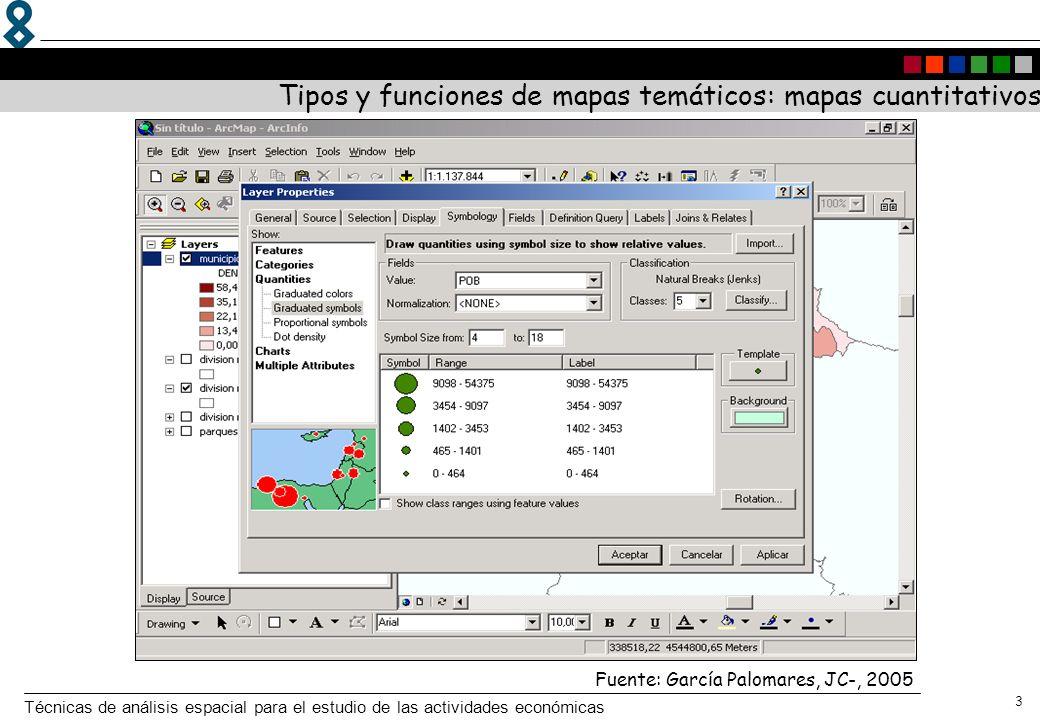 Técnicas de análisis espacial para el estudio de las actividades económicas 3 Fuente: García Palomares, JC-, 2005 Tipos y funciones de mapas temáticos