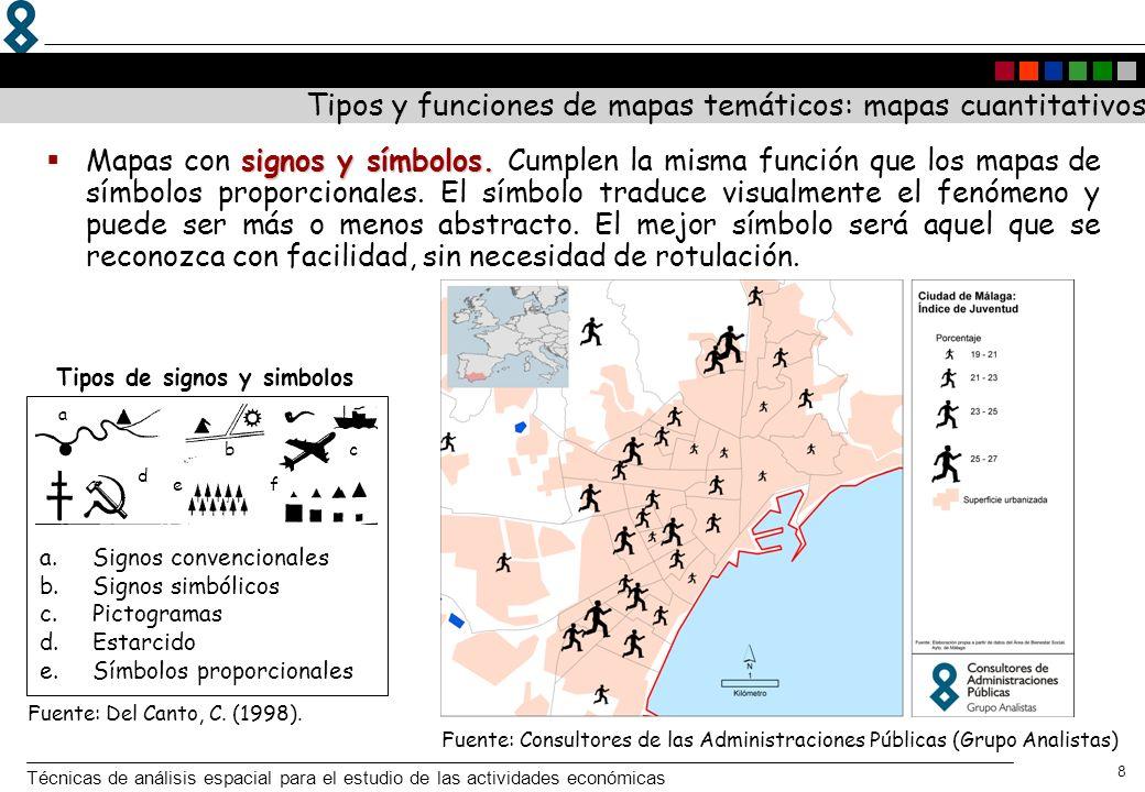 Técnicas de análisis espacial para el estudio de las actividades económicas 9 mapas de coropletas Los mapas de coropletas sirven para cartografiar densidades, porcentajes cocientes o tasas de variación; medidas relativas del fenómeno referidas a una superficie.