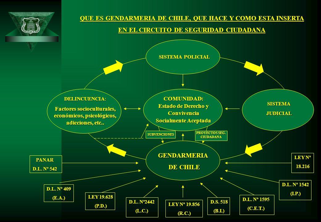 QUE ES GENDARMERIA DE CHILE, QUE HACE Y COMO ESTA INSERTA EN EL CIRCUITO DE SEGURIDAD CIUDADANA GENDARMERIA DE CHILE DELINCUENCIA: Factores sociocultu