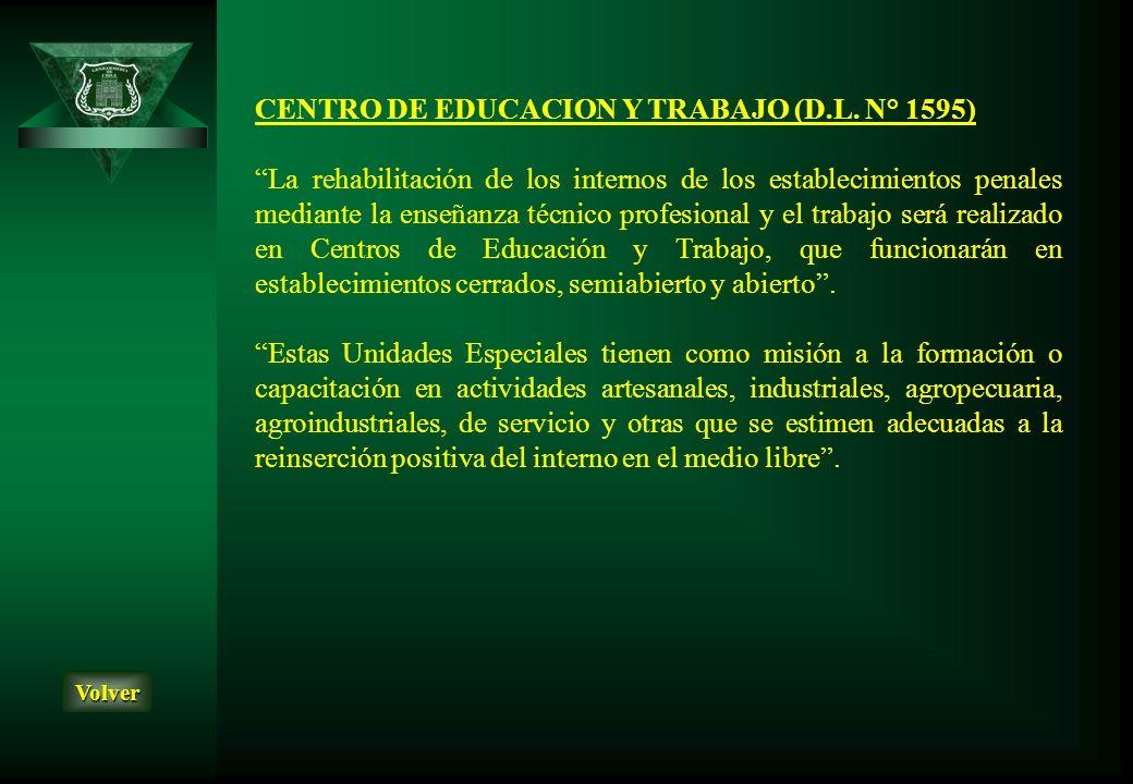 CENTRO DE EDUCACION Y TRABAJO (D.L. N° 1595) La rehabilitación de los internos de los establecimientos penales mediante la enseñanza técnico profesion