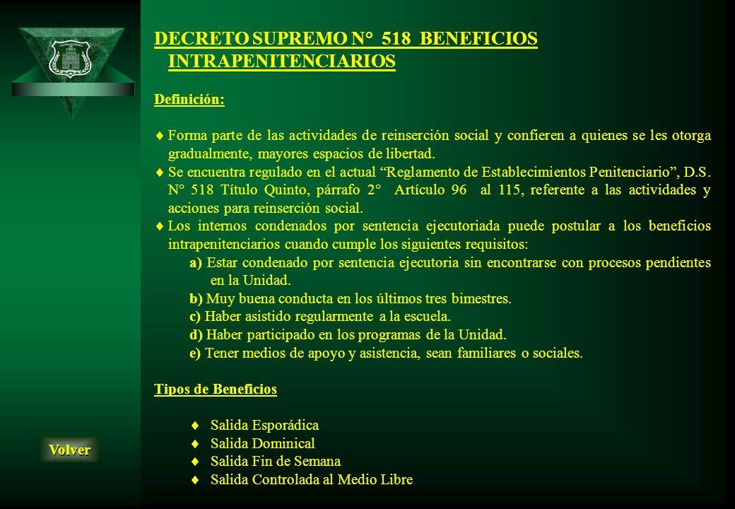 DECRETO SUPREMO N° 518 BENEFICIOS INTRAPENITENCIARIOS Definición: Forma parte de las actividades de reinserción social y confieren a quienes se les ot